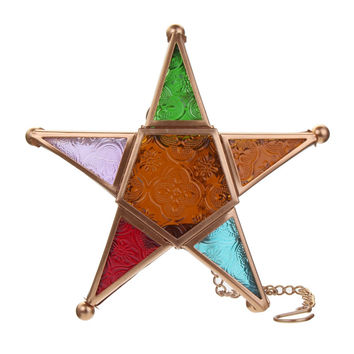 Multicolored Glass Star Votive Hanging Candle Holder