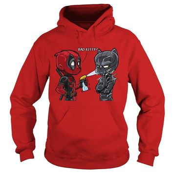 Deadpool and Black Panther bad kitty shirt Hoodie