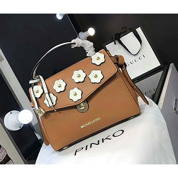 MK New Trending Women Stylish Leather Satchel Crossbody Handbag Flower Shoulder Bag Brown I-AGG-CZDL
