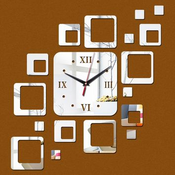 new arrival lovely art diyclock wall clock Living Room modern  Acrylic clocks mirror watch safe novelty home decoration kid