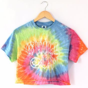 Chill Out Pastel Tie-Dye Graphic Crop Top