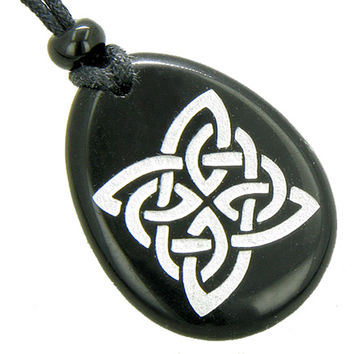 Magic Celtic Shield Knot Amulet Black Agate Word Stone Pendant Necklace