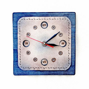 Kitchen Clock Leather Wooden Wall Clocks Large and Unique Art Clock Wood Framed Rustic Clock Kitchen Decor Navy Blue Turquoise  10x10 Inches