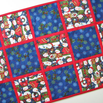 Quilted Table Runner , Snowman Table Runner , Blue and Red Patchwork