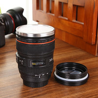 New Camera Lens Cup 24-105 Coffee Travel Mug Thermos Stainless Steel, Leak-Proof Lid Creative Coffee Mug Cup Funny Gifts