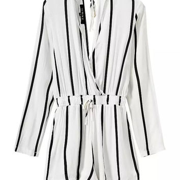 Cotton Stripes Long Sleeve Jumpsuit Romper [4918042628]