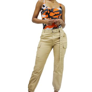 Women's High Waist Cargo Jogger Pants with Extra Long Belt