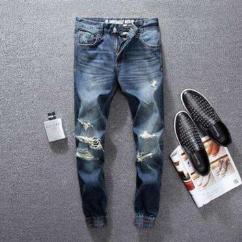 DCCKON3 High street men jeans blue color classical jogger pants top quality destroyed ripped jeans brand designer jeans men