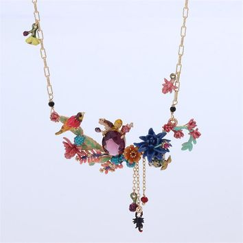 France Les Nereides Enamel Glaze Desert Dusk Series Cactus Bird Gem Women Necklace