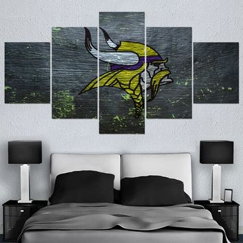 Factory Direct Sale Minnesota Vikings Canvas Painting Calligraphy Sport Ball Team Wall Art Paintings Modern Home Decor Picture
