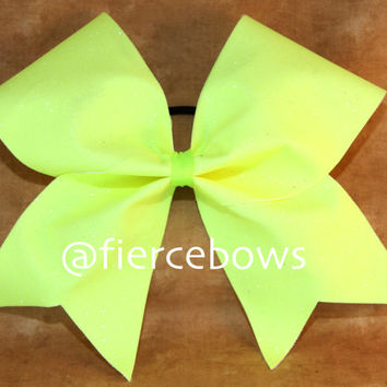 Neon Yellow Glitter Cheer Bow