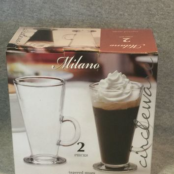 Milano 2 Pieces Tapered Clear Glass Mugs