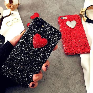 Fashion 3D DIY Glitter Powder Love Heart Case For iphone 7 6 6S Plus SE 5 5S Cover Cute Bling  Phone Cases