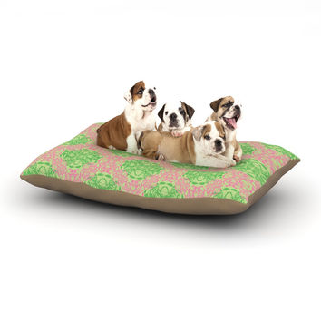 "Mydeas ""Diamond Illusion Damask Watermelon"" Pink Green Dog Bed"