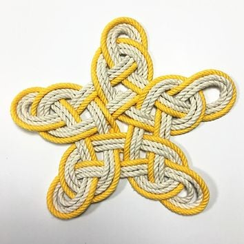 Nautical Woven Star, Cotton Knot for Christmas Tree Topper or Home Decoration