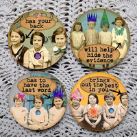 Best Friends Forever -- Funny Sweet Girlfriends Vintage Photography Mousepad Coaster Set