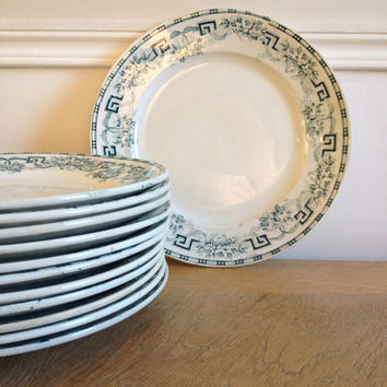 "French antique pottery earthenware dinner plates ""Moulin des loups & hamage"" 1900's Set of 2"