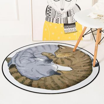 Autumn Fall welcome door mat doormat Big Lazy Cat Round Carpet For Living Room Children Bedroom Rugs And Carpets Computer Chair Floor Mat European Cloakroom Carpet AT_76_7