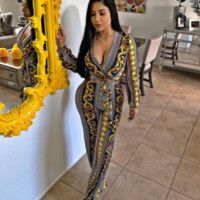 VERSACE Fashion Women Long Sleeve V-Neck Jumpsuit