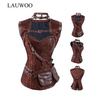 LAUWOO New Free shipping Retro Steampunk Lace up Boned Corset Brown Leather Overbust Bustier Gothic Halloween Top with Jacket