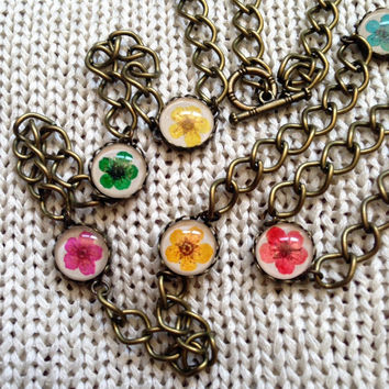 Pressed flowers Country flower necklace pressed flower jewelry multicolor nature inspired antiqued bronced necklace with colorful flower mix