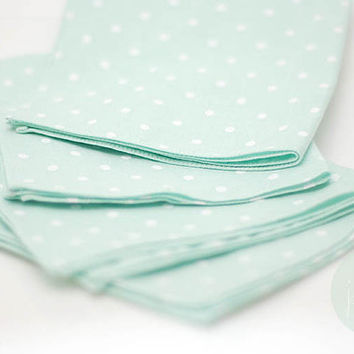 pocket square+neck-tie,retro vintage pastel polka dot mint,white dot mint tie,mint theme wedding, mint accessory decoration, groomsmen,men