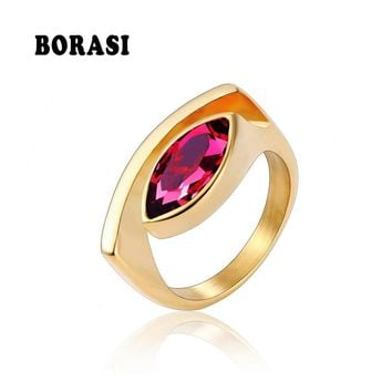 BORASI New Oval Stone Finger Rings Stainless Steel Ring Colorful Peculiar Luxury Jewelry Female Ring For Women Wedding/ Party
