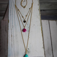 Layered Stone Necklace in Magenta and Turquoise
