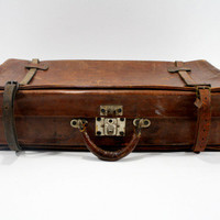 Vintage Antique European Leather Suitcase