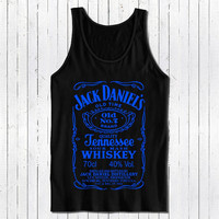 jack daniels tshirt black tank top with blue printing color populer womens and mens tank top