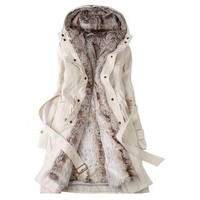 Hee Grand Women's Thicken Faux Fur Winter Coat Jacket Beige Chinese L