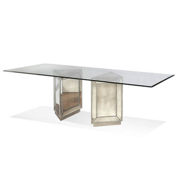 Bassett Mirror Murano Rectangular Dining Table in Silver Leaf & Mirror
