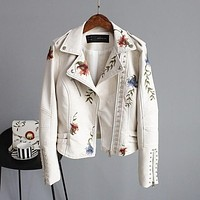 Floral Embroidery Faux Leather Jacket - Creme