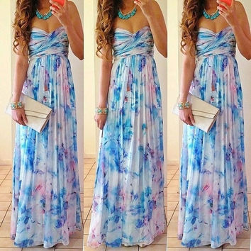 Sexy Women Summer Boho Long Maxi Evening Party Dress Beach Dresses Sundress = 5617197313