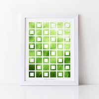 Digital Printable wall art print, Green art Geometric decor, Green Home decor Bathroom art, Bathroom wall decor, 8x10 print, Green wall art
