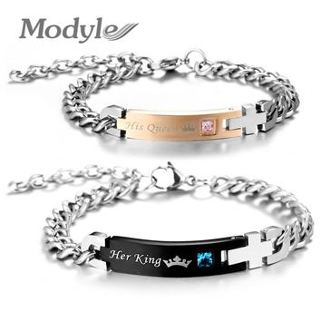 Modyle Drop Shipping Her King and His Queen Wedding Bracelets Bangles Crystal Stone Charm Lover Bracelet for Women Men
