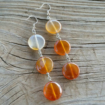 carnelian gradient earrings // R161