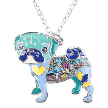 Hand painted Enamel Pug Necklace