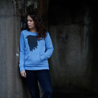 SALE The Lenore - womens sweatshirt | eco fleece sweater - gothic raven print on heather blue pullovers - ladies top - LIMITED EDITION