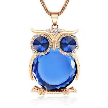 DCCKHY9 New Design Owl Necklaces&Pendants Vintage Crystal Gem Long Chain Gold/Silver Plated Fashion Necklace Women Gift