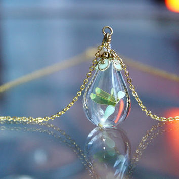 Golden DRAGONFLY in Glass Bubble Pendant GLOW in the DARK
