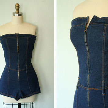 Vintage 1970s Denim Romper Size Small by FancyThatVintage on Etsy