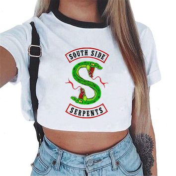 Fashion Riverdale South Side Serpents Printed White Crop Top Shirt Harajuku Ladies Hoodies Women Sweatshirts Top Hip Hop Clothes