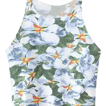 Blue and Green Tropical Print Sleeveless Crop Top