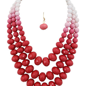 Bohemain Multi Strand Red Chunky Faceted Round Beads Layered Necklace & earrings Set