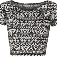 PaperMoon Women's Print Cap Sleeve Crop Top:Amazon:Clothing