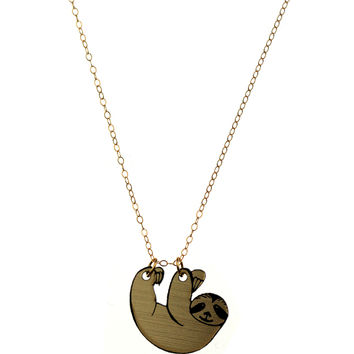 Sloth Necklace in Gold/Black