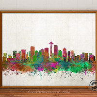 Seattle Skyline Watercolor Poster, Washington Print, Cityscape, USA City Painting, States, Illustration Art Paint, Giclee Wall, Home Decor