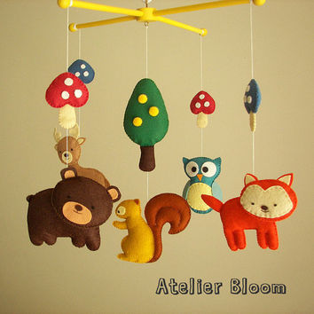 Baby crib mobile forest mobile animal mobile by atelierbloom