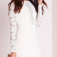 White Sheer Lace Long Sleeve Bodycon Mini Dress